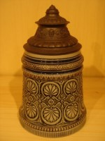 lidded stein with lovely thumbrest