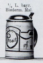 1/2L Bavarian stein, Biedermeier decoration