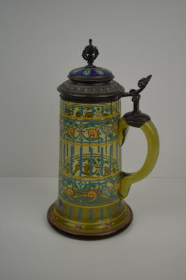Glass stein with enamel decorations
