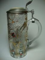 color decorated glass stein