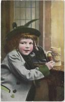 postcard: girl with stein and pipe