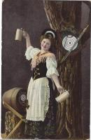 postcard: woman posing with steins and hunting stuff