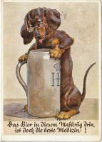 postcard: Dog with Hofbrau stein