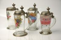 Four Antique 19th Century Painted Glass Beer Stein
