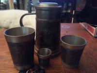 pewter stein & cup set