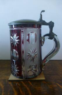 Biedermeier ruby flashed glass stein