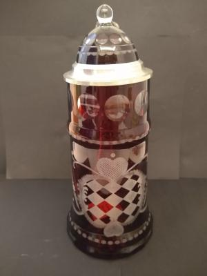 Ruby Red Glass Stein