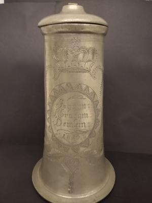18th Century Engraved Memorial Flagon