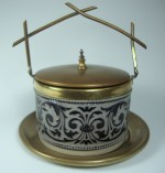 lidded jar with brass dish and lid