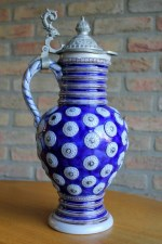 Jugendstil/Art Nouveau beer stein with grey-blue